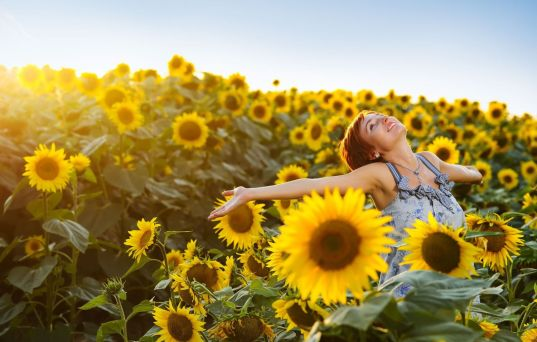 mood-girl-smile-positive-happy-joy-hand-field-flowers-flowers-sunflower-sunflowers-yellow-background-sky-wallpaper